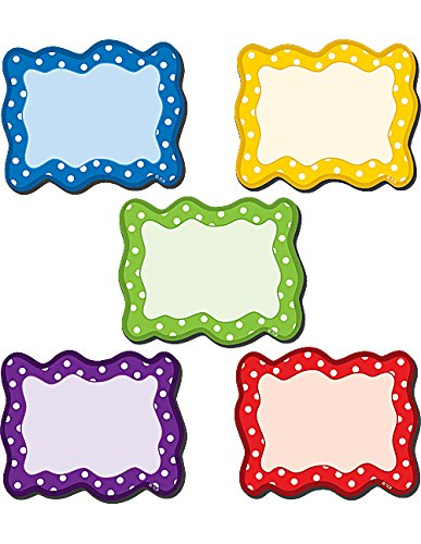 Teacher Created Resources Blank Cards Magnetic Accents, Polka Dots (77210.0) (Whiteboard Name Tags)