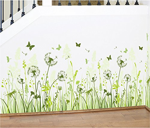 TOTOMO Dandelion Baseboard Wall Decals Stickers Wall Décor (Grape Border Flat)