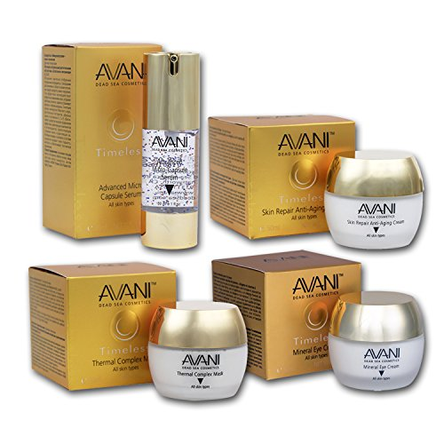 AVANI Dead Sea Timeless 4-Piece Face, Eye, Skin Cream Set – Includes Mineral Eye Cream, Thermal Complex Mask, Skin Repair Anti-Aging Cream, Advanced Micro Capsule Cream