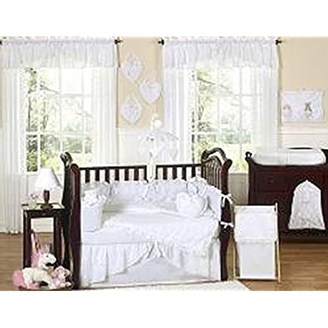White Eyelet 9 Piece Crib Bedding Set Set Includes A Blanket Crib Bumper Crib Skirt Fitted Sheet Toy Bag Decorative Throw Pillow Diaper Stacker And Two Window Valances