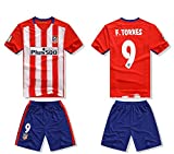 2016 Atletico Madrid 9 Fernando Torres Home Football Jersey In Red For Kid Youth Children