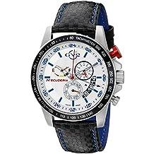 GV2 by Gevril Scuderia Mens Chronograph Swiss Quartz Alarm GMT Black Leather Strap Sports Racing Watch, (Model: 9905)