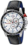 GV2 by Gevril Scuderia Mens Chronograph Swiss Quartz Alarm GMT Black Leather Strap Sports Racing Watch, (Model: 9905)