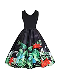 HHmei Women's A-Line Elegant V-Neck Sleeveless Print Party Prom Swing Dresses