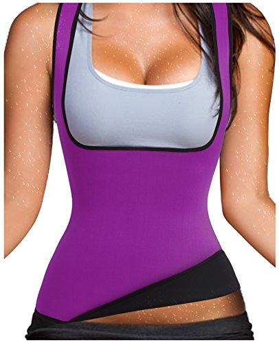 Gotoly Waist Trainer Tummy Fat Burner Sweat Tank Top Weight Loss Shapewear Neoprene (Small, Purple)