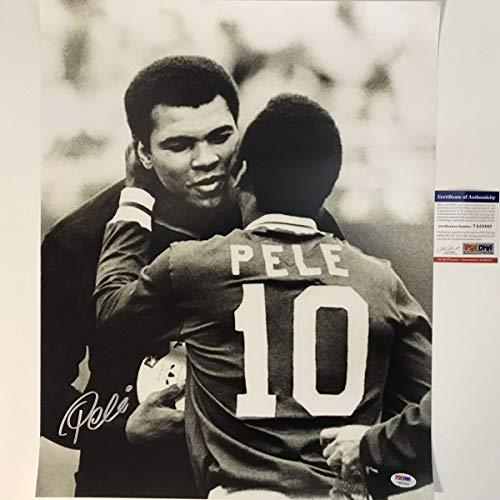 Autographed/Signed Pele Brazil Soccer Futbol 16x20 Photo with Muhammad Ali PSA/DNA COA Auto
