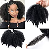3Packs Ombre Black Brown Afro Kinky Marley Braids Hair Extensions Kanekalon Synthetic Twist Crochet Braiding Hair for Women (8inch, 1b/27)