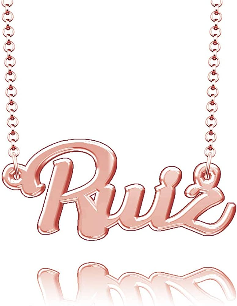 LoEnMe Jewelry Ruiz Name Necklace Sterling Silver Plated Custom Made of Last Name Personalized Gift for Family
