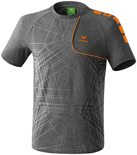 erima Herren T-Shirt Player 3.0, Grau Melange/Orange, L, 608501