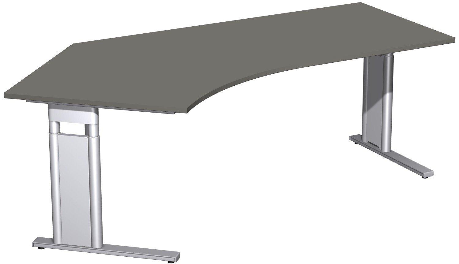 Geramöbel Schreibtisch 135° links höhenverstellbar, C Fuß Blende optional, 2166x1130x680-820, Graphit/Silber