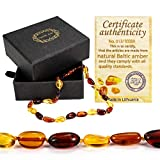 Amber Teething Necklace for Babies (Unisex) - Drooling & Teething Pain Relief Properties, Anti Inflammatory - Oval Baltic Amber with Highest Quality for Baby Under 3 Years Old Boys, Girls …
