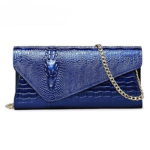 pour Dîner d'enveloppe d'épaule messager crocodile printemps Bleu forme femme avec un en Pochette sac de de SLR été Pochette B7qTd7