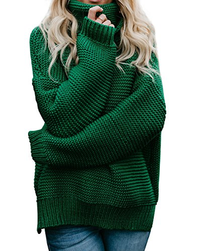 Imily Bela Womens Oversized Turtleneck Sweater Long Sleeve Chunky Pullovers Knitted Outfit Green ()
