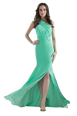 GEORGE BRIDE Elegant Long One Shoulder Hunter Prom Dress, Hunter, 48