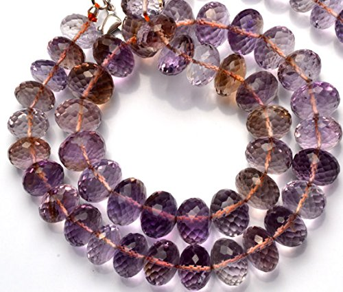 JP_Beads 1 Strand Natural Ametrine Facet Rondelle Bead 16.5 inch Full Strand 10-12MM Approx