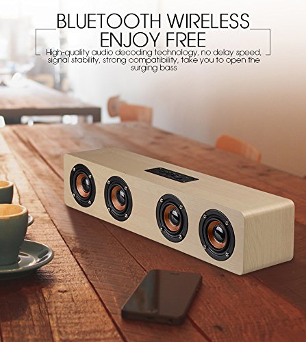 3D Wireless Bluetooth Subwoofer Wood Speaker, elcfan Portable Stereo Sound Bar for Desktop, Laptop,PC, TV, Home Theater - Light Brown by elecfan (Image #2)
