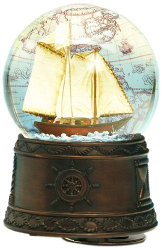 Musicbox World 25101 Snow Globe Sailing Boat Playing Sailing