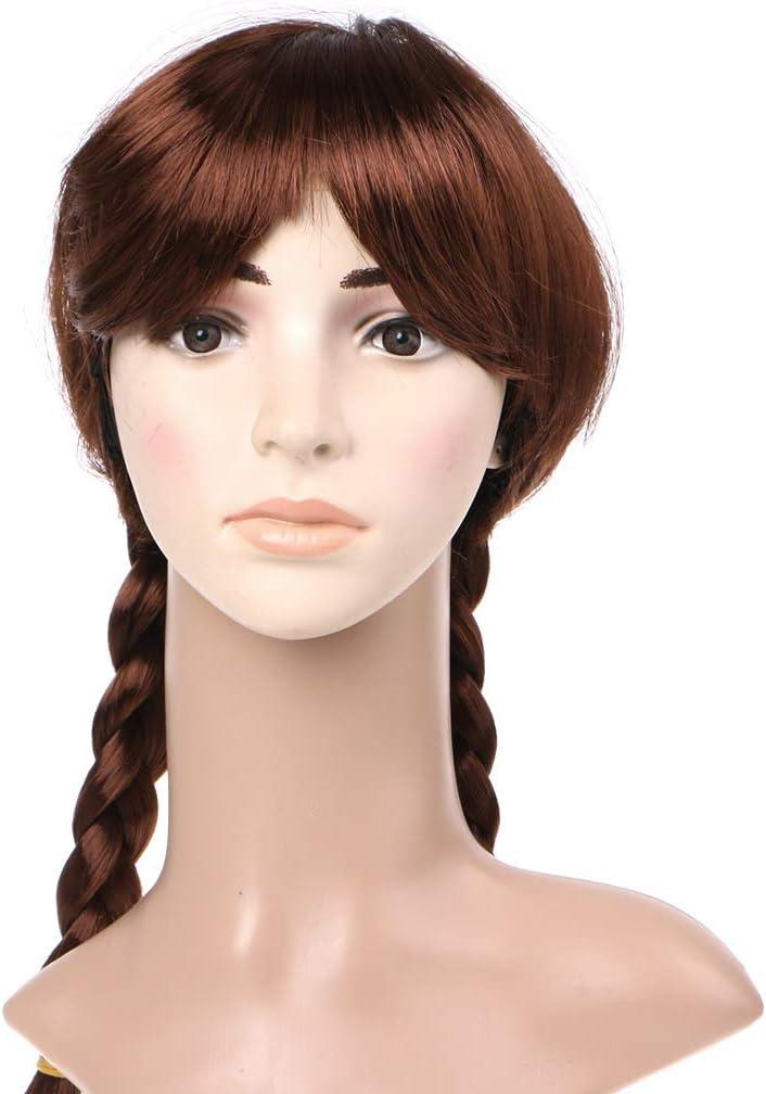 Peluca larga para cosplay, diseño de Frozen Snow Queen, color marrón, para niños, adultos, ACR, color 2: Amazon.es: Oficina y papelería