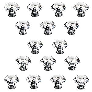 Ignpion 16x40mm diamond cut clear crystal glass kitchen for Crystal bureau knobs