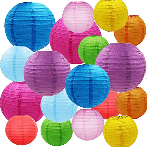 18PCS Paper Lanterns with Assorted Colors and Sizes Paper Lanterns Decorative,Chinese/Japanese Paper Hanging Decorations Ball Lanterns Lamps for Home Decor, Parties, and Weddings (Multi-colored-03) (Assorted Roses 18)