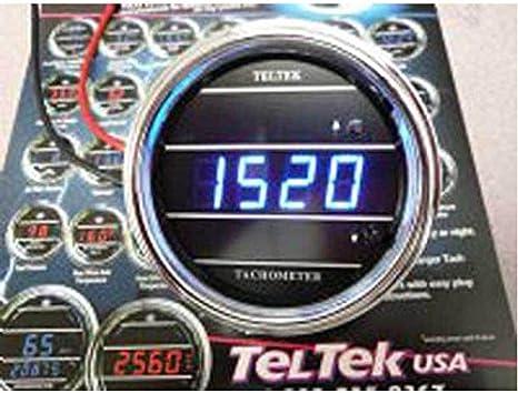Teltek USA Tachometer for Cars and Trucks for Kenworth 2005 or Previous LED Color Chrome Bezel Blue