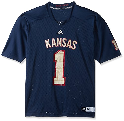 adidas NCAA Kansas Jayhawks Men's Replica Football Jersey, Cream, -