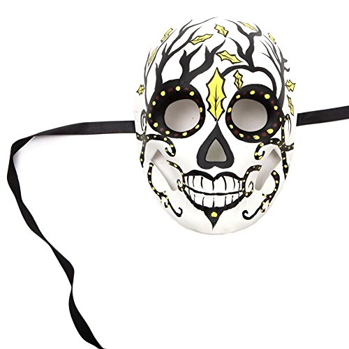 Black and Yellow Scary Dead Full Mask Women Costume Halloween +eBook