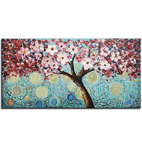 e2e6137fafda6 Modern Art 100% Hand Painted Framed Home Wall Decor Art Blooming Flower  Tree 3D Oil Painting Abstract Artwork Cherry Blossoms Pink Flowers Blue  Teal ...
