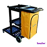 SunnyCare®#611-B New Black Plastic Janitorial Cart With 25 Gallon Bag Size: 49''L x 19''W x 39''H