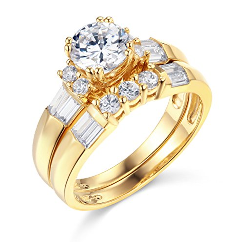 TWJC 14k Yellow Gold SOLID Wedding Engagement Ring and Wedding Band 2 Piece Set - Size 8