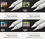 Spectrum Noir Illustrator Twin End Artist Craft Pen Set - All 4 Packs