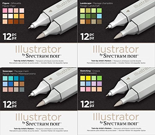 Spectrum Noir Illustrator Twin End Artist Craft Pen Set - All 4 Packs by Spectrum Noir