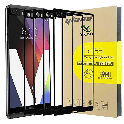 [4-Pack] for LG V20 [Tempered Glass] Screen Protector, [Full Screen Coverage] 9H Hardness Anti-Scratch (Black) (Best Lg V20 Glass Screen Protector)