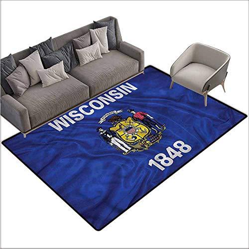 - Bathroom Rug Kitchen Carpet American,Flag Wisconsin Vintage Men 36