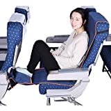 Travel Bread Airplane Footrest Hammock, Portable Travel Foot Rest with Inflatable Pillows, Adjustable Height Flight Carry-On Footrest Provides Relaxation and Comfort for Airplane, Train, Bus (Blue)