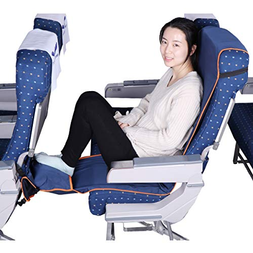 Travel Bread Airplane Footrest Hammock, Portable Travel Footrest with Inflatable Pillows, Adjustable Height Foot Rest Hammock Flight Carry-On Foot Rest Provides Relaxation and Comfort (Dark Blue)