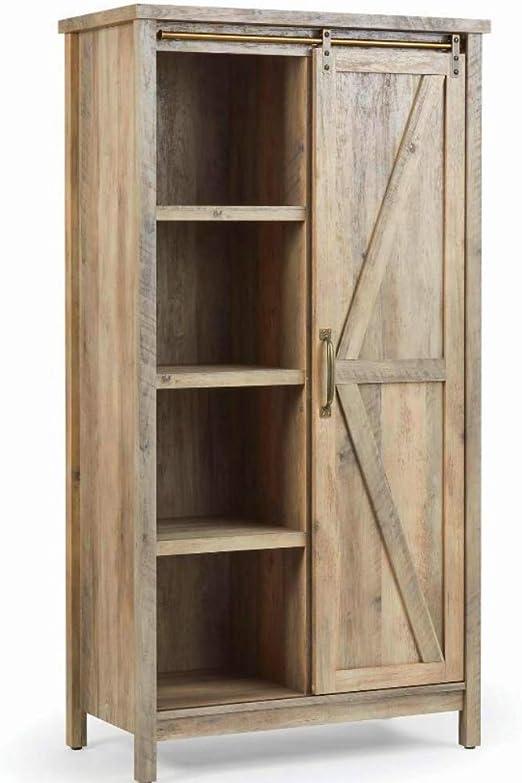 BS - Armario de cocina rústico envejecido para granja, puerta de granero, despensa, armario, puerta corredera, 5 estantes ajustables: Amazon.es: Juguetes y juegos
