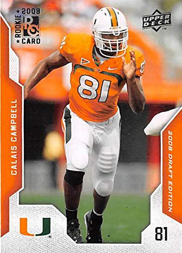2008 Miami Hurricanes Football - Calais Campbell football card rookie (University of Miami Hurricanes now with Jacksonville Jaguars) 2008 Upper Deck Draft #11