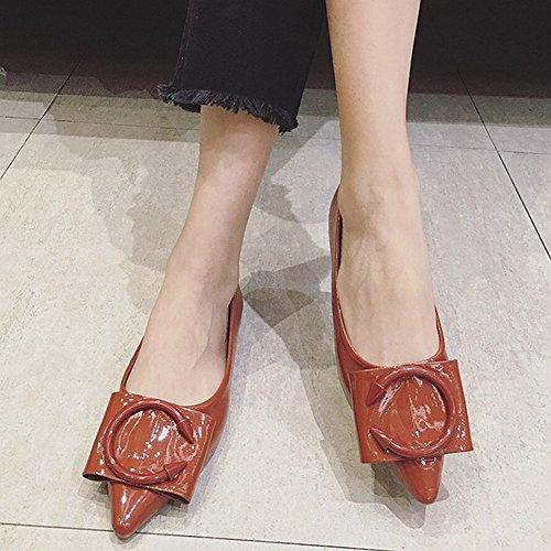 Ciliate Moda Scarpe A Punta Scarpe Casual Da Donna Semplici Slip Slip On Flat Mocassino Vino Rosso
