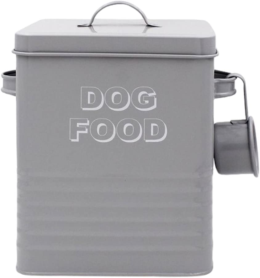 Lesser & Pavey New Sweet Home Dog Food tin with Scoop, Metal, Grey, 18 x 15 x 25 cm