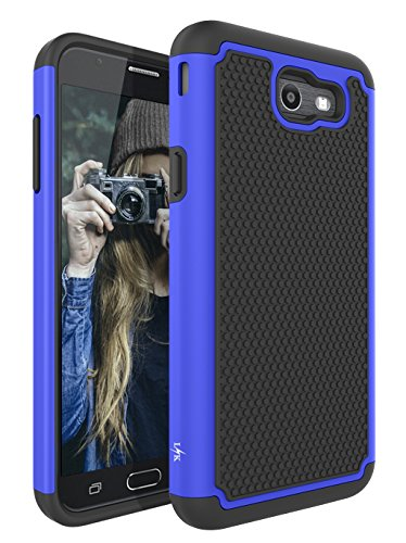 Fitted T-mobile Leather Case - for Samsung Galaxy J7 V / J7 2017 / J7 Prime / J7 Perx / J7 Sky Pro/Galaxy Halo Case, LK [Shock Absorption] Drop Protection Hybrid Armor Defender Protective Case Cover (Blue)