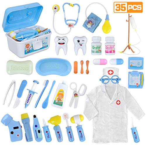 LOYO Medical Kit for Kids - 35 Pieces Doctor Pretend Play Equipment, Dentist Kit for Kids, Doctor Play Set with Case -