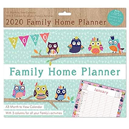 2020 A3 Family Organiser Month To View 5 Columns Owls Or Butterflies