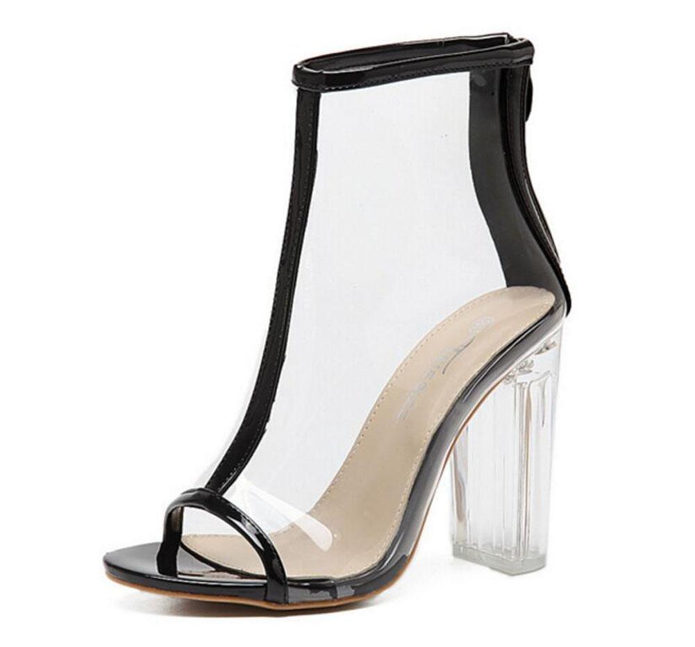 GLTER Mujeres Ankle Strap Bombas Alta Heelssalarios Roma Moda Zapatos Cristal Zapatos Al aire libre Sandalias , black , 40 40|black