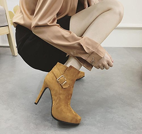 KHSKX-Brown 10Cm High-Heel Shoes Winter New Tip Waterproof Single Belt Clip And Side Zip Slim With Short Boots Female Boots 36 yMvEjoX