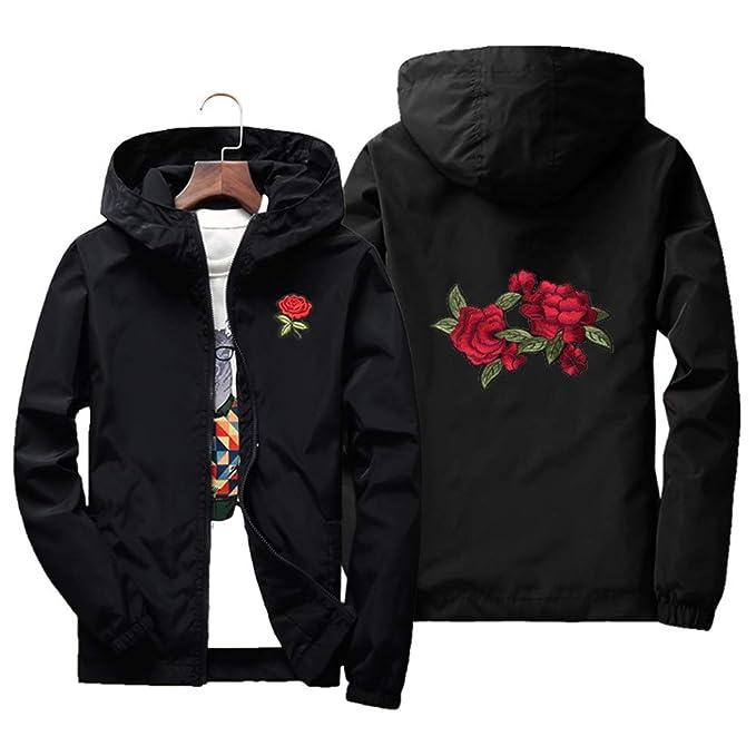 Amazon.com: Rosa chaqueta para hombre cortavientos ligero ...