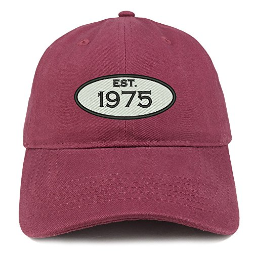Trendy Apparel Shop Established 1975 Embroidered 43rd Birthday Gift Soft Crown Cotton Cap - (1975 Hat)