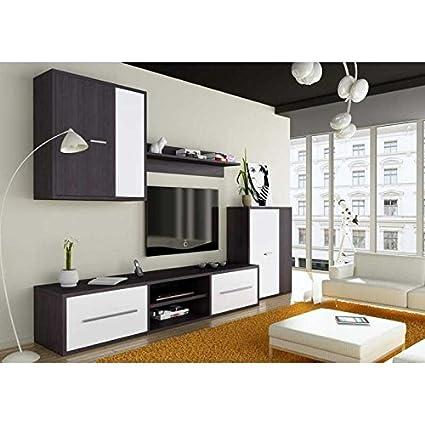 Mueble salón TV Completo Color Ceniza y Blanco Muebles ...
