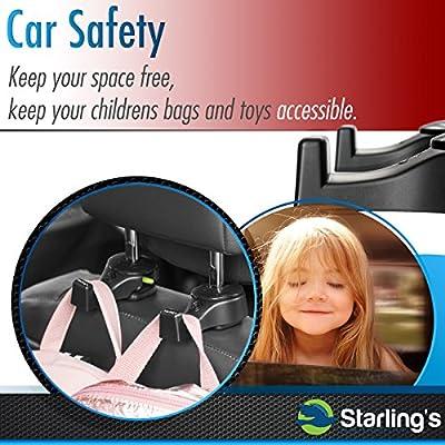 Starling's Headrest Hooks for Car - Back Seat Organizer Hanger Storage Hook, Car SUV(Set of 4) Black, Purse Hook for Car Handbag Clothes Umbrellas Coats Grocery Bags & More!: Home Improvement