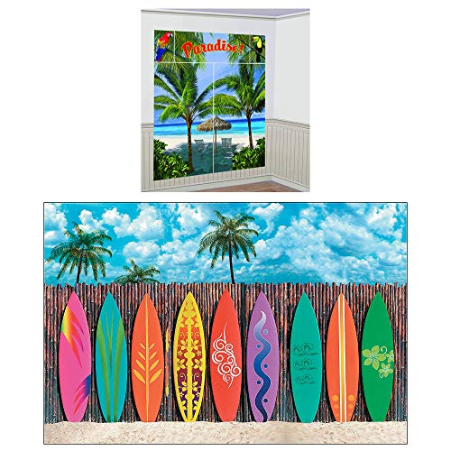 Fun Express Luau Party Scene Setters Decor Bundle | Backdrop Banner & Scene Decorating Kit | Great for Hawaiian Themed Party Decor, Beach, Tropical, Summer Birthday Celebration ()